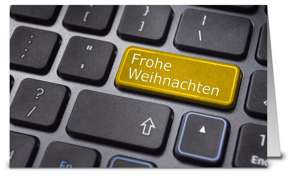 Tastatur mit goldener taste weihnachtskarten wk14177 - Weihnachtskarten shop ...