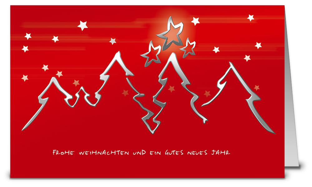 Rote weihnachtskarten mit silbernen tannen wk07029 - Weihnachtskarten shop ...