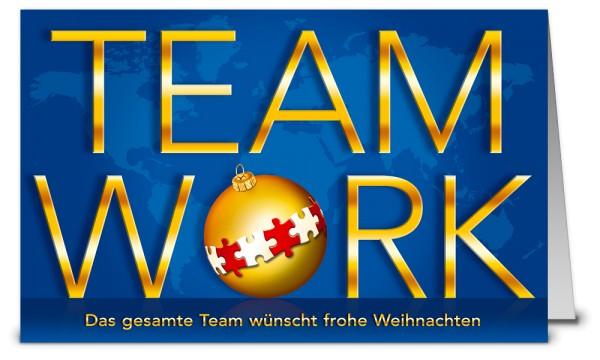 Blaue Teamwork Weihnachtskarten WK19227