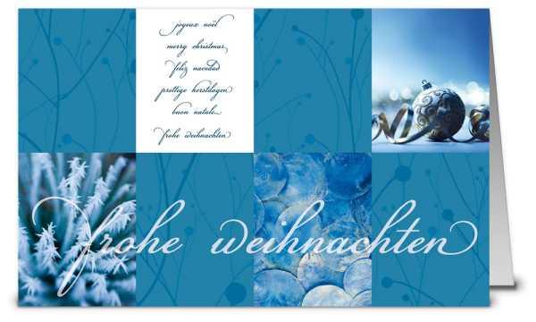 Frostblaues Design Weihnachtskarte K12394