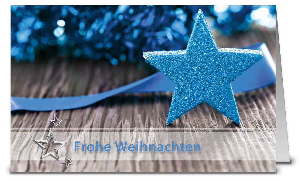 Blauer stern weihnachtskarte k16423 - Weihnachtskarten shop ...