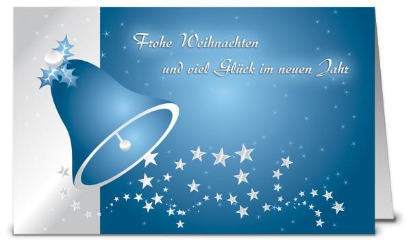 Blaues Glöckchen Weihnachtskarte K08331