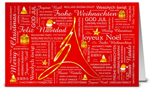 Internationale Word Cloud Weihnachtskarten WK19232