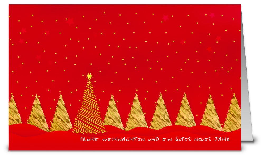 Rote weihnachtskarten mit goldenen b umen wk07045 - Weihnachtskarten shop ...