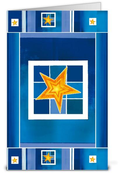 Kunstvolle Feiertage in Blau und Gelb Weihnachtskarte K10370