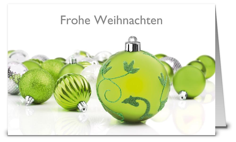 Gr ne kugeln weihnachtskarten wk12166 - Weihnachtskarten shop ...