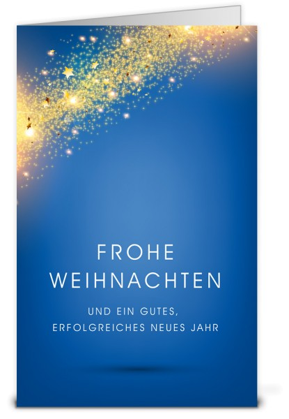 Blaue Weihnachtskarten mit Goldregen K12393